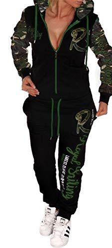 Unbekannt Damen Jogginganzug Trainingsanzug Fitnessanzug Hose und Oberteil Schlafanzug Pyjama Royal Sailing (Camouflage, S