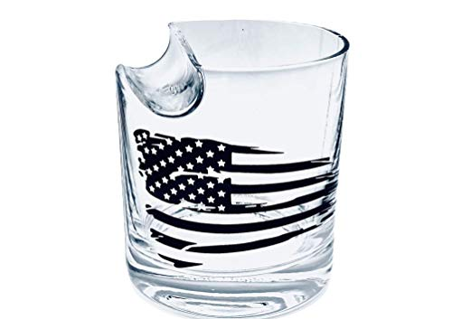 Whisky Cigar Glass With Crafted American Flag & Top Loading Slot Delivered in Custom Round Gift Box   Ideal Gift For a Lover of Whisky, Bourbon, Scotch, Cigars   Idea Father's Day Gift, 4th of July.