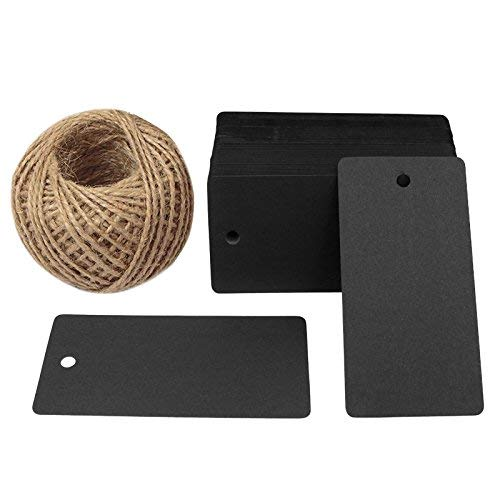 """Rectangle Black Tags 3.5"""" x 1.7"""" 100PCS Paper Tags with 100 Feet Jute Twine String for Arts and Crafts, Wedding"""