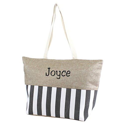 Large Zipper Top Stripe Print Canvas Beach Bag Tote - 22'x14'x7' (Personalized Gray)