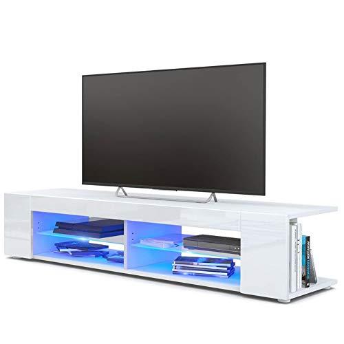 Wakects Mobile Porta TV, LED TV Armadio Mobile Tavolino TV in MDF con Luce LED Blu e 4 Scatole Aperte, 133 x 30 x 40 cm, Bianca (Bianca)