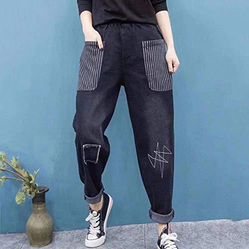 haochenli188 Pantalones Anchos Primavera Corea Moda Mujer Cintura EláStica AlgodóN Denim Pantalones Harem Gran Bolsillo Suelto Casual Vintage Jeans XL Negro