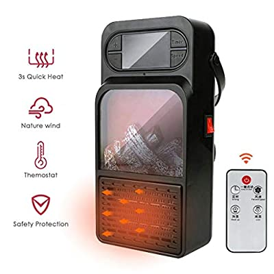 Shan-S Infrared Space Heater, Portable Mini Electric Fireplace Heater with 3D Flame Effect Air Warmer Space Heaters 900W with Remote Control Adjustable Thermostat for Home Office Indoor Use
