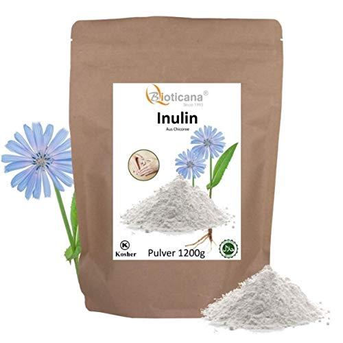 Inulin Pulver - 1200 g (1,2 kg) - aus Chicoree Wurzel - natürliche Ballaststoffe - 100% vegan, koscher und halal - Präbiotisch - Ballaststoffe Pulver - Bioticana - Inulin aus Chicoree - Inulin