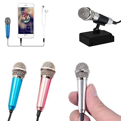 QULONG 2 Pieces Mini Microphone Portable Vocal Microphone Mini Karaoke Microphone,With Stand Suitable for Mobile Phone Laptop,For Children's, D