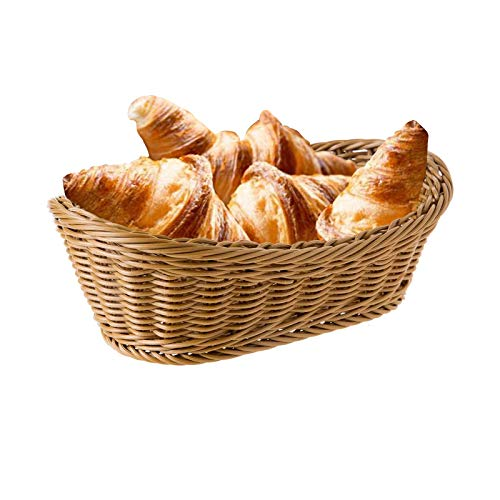 CNMF Wicker Baskets, Handmade Woven Polypropylene Pantry Organizer, Tabletop Food Serving Baskets for Fruits, Vegetables and Snacks, Restaurant, Bread Basket for Serving