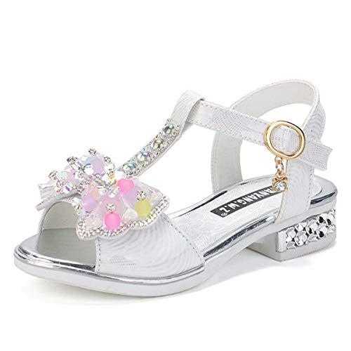 JOEupin Sandalias para nias - Zapatos de vestir para fiestas de verano, bodas, escuelas, color Blanco, talla 30 EU