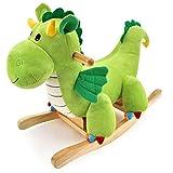 Kibten Madera del bebé del caballo mecedora Niño paseo en el juguete mecedora Dagwood dragón felpa cubierta al aire libre del animal relleno del juguete Ride Balancín infantil de cumpleaños de Navidad