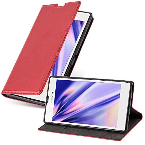 Cadorabo Hülle für Sony Xperia T3 - Hülle in Apfel ROT – Handyhülle mit Magnetverschluss, Standfunktion und Kartenfach - Case Cover Schutzhülle Etui Tasche Book Klapp Style