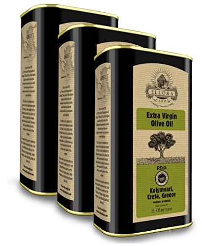 Ellora Farms, 2020 Gold Award Winner, Certified PDO Greek Extra Virgin Olive Oil, Traceable, Single Origin & Single Estate, Harvested in Crete, Greece, Cold-Press, Kosher, 1 Lt. X 3 Tins, total 101.4 FL oz.
