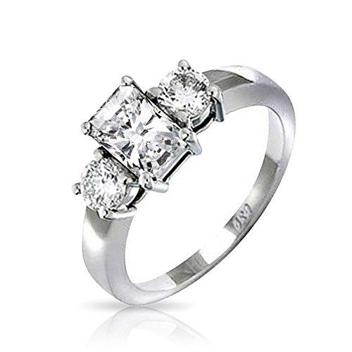 Bling Jewelry Stile Art Deco 2CT Rettangolo Taglio Smeraldo Pietra 3 Passato Presente Futuro CZ Anello di Fidanzamento Argento 925