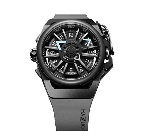 Mazzucato Orologio da uomo reversibile automatico e cronografo con cinturino in gomma Fkm Nero 03-gy536
