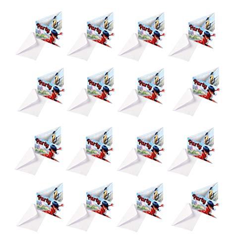 amscan Einladungskarten-Set Miraculous für eine Mottoparty oder Kindergeburtstag Ladybug Marienkäfer Superheld Party Geburtstag Einladung (Einladungskarten, 16 Stück)