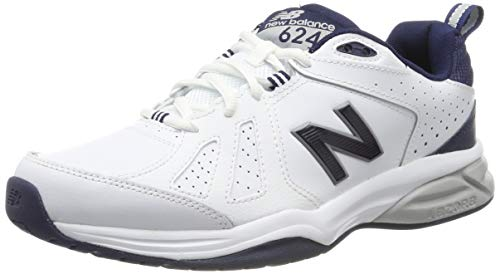 New Balance 624v5, Scarpe Sportive Indoor Uomo, Bianco (White/Navy)