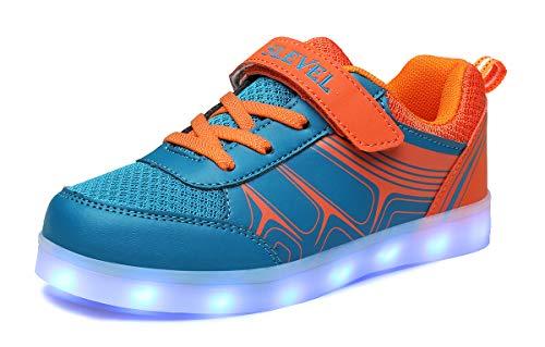 SLEVEL Toddler Kids LED Light Up Shoes Dance Dazzle USB Charge Sneaker for Boys Girls(SL068BlueOrange32)