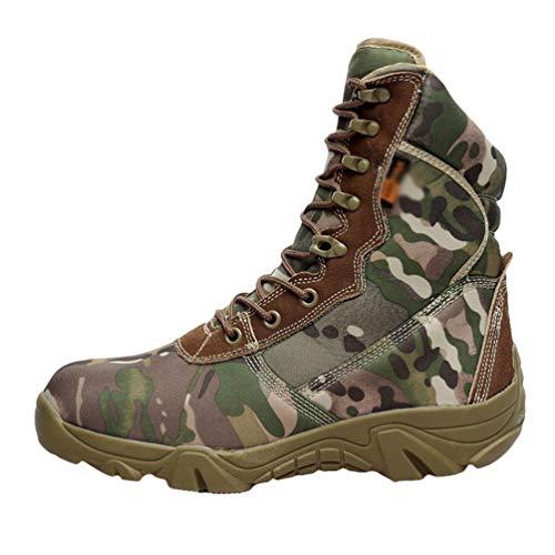 Yuanu Botas De Senderismo para Hombre Trekking Desierto Zapatos De Combate Suela De Goma Botas Altas Paño Oxford Otoño Invierno Casual Calentar Cremallera Deportes Calzado Camuflaje 43 EU