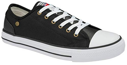 Mens Canvas Trainers Lace Up Pumps Casual Plimsolls Fashion Skater Shoes Sneakers (Black, Numeric_7)