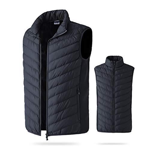Chaleco caliente para hombre y mujer, chaleco térmico de invierno, chaleco térmico cálido, chaleco de camuflaje con calefacción, chaqueta de pesca, senderismo, chaleco negro, talla L