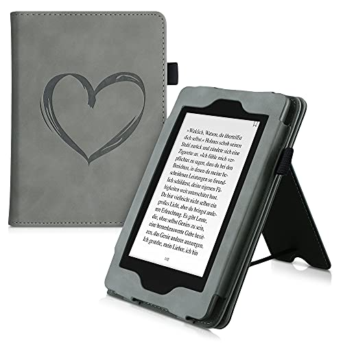 kwmobile Flip Hülle kompatibel mit Amazon Kindle Paperwhite (10. Gen - 2018) - Handschlaufe - Cover Herz Brush Grau