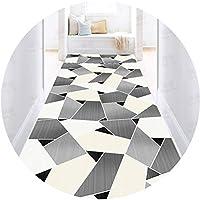 滑り止めブラックホワイトホールウェイ長カーペット、現代の3D幾何学的廊下カーペットロングランナー敷物快適で柔らかい階段の継続的な段階的な段差マット幅80/100/120 / 160cm black-100X700CM