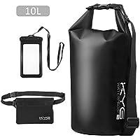 KYG Premium Bolsa estanca 10L Impermeable Seca Set de Bolsa Waterproof con Funda táctil de móvil y Bolsa Cintura para Playa y Deportes al Aire(Rafting/Kayak/Senderismo/esquí/Pesca/Escalada/Camping)