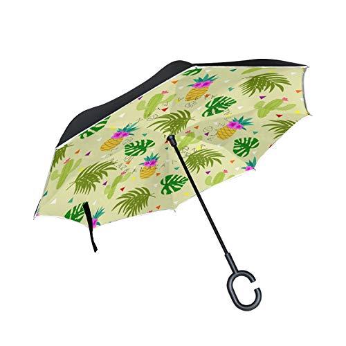 Palmera Tropical Cactus Piña Paraguas Invertido Doble Capa Inverso Reverso con Mango en Forma de C Paraguas de Plegado para Automóviles en Exteriores