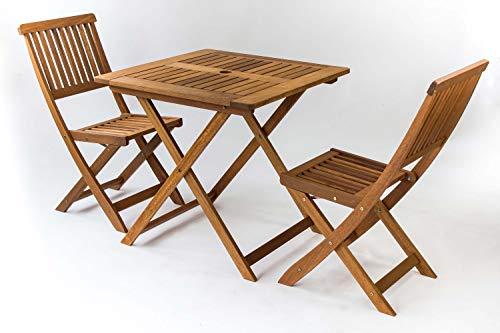 AVANTI TRENDSTORE - Set da Giardino/Balcone in Legno Massiccio, Disponibile in 2 disposizioni Diverse (1 x Tavolo; 2 x sedie)