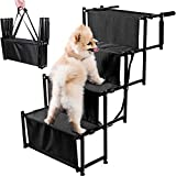 Zento Deals Foldable Car Dog Stairs - Premium Quality Adjustable Metal Ramp Lightweight Non-Slip Pet Stairs for Small and Large Dogs, Portable and Easy to Store