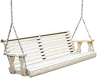 Amish Heavy Duty 800 Lb Roll Back Treated Porch Swing with Hanging Chains (5 Foot, Unfinished)