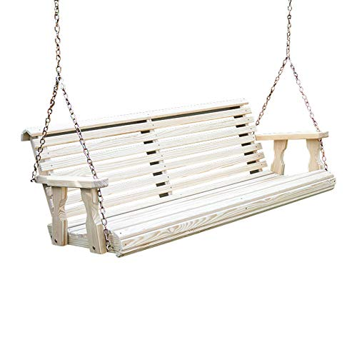 Amish Heavy Duty 800 Lb Roll Back Treated Porch Swing with Hanging...