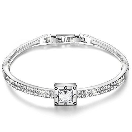 Menton Ezil 'Spiritual Guidance Crystal Rose Gold Plated Bangle Ladies Bracelets Bangles for Womens Bracelet Mum Bracelets Adjustable Jewellery with Love Design for Women