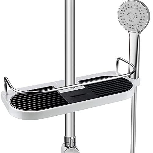 シャワーフック 浴室ラック兼用 穴あけは必要なし 落ちない 錆びないシャワーラック 直径18mm〜25mmシャワー スライドバーのみに対応のシャワーフック(18mm)