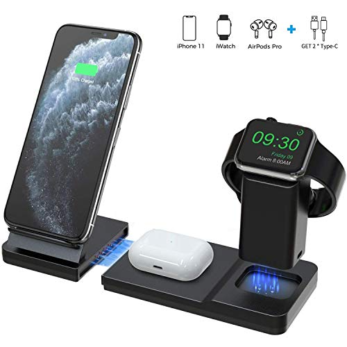 Hoidokly 3 in 1 Fast Wireless Charger Schnelles Kabelloses Induktions Ladegerät Induktive Ladestation für Apple Watch Series 1/2/3/4/5,AirPods pro, iPhone 11/11 Pro Max/XS/XS Max/XR/X