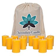 Beeswax Votive Candles Set of 12 Pure Hand-Poured Eco Friendly Gift Set -10 Hour Burn