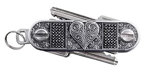Key Organizer SCHLÜSSELWERK - HERZWERK in edler Geschenkverpackung/Schlüssel Organizer aus Metall, Werkgröße Y - passend für ca. 6-8 Schlüssel, einseitig oder beidseitig mit Schlüsseln bestückbar