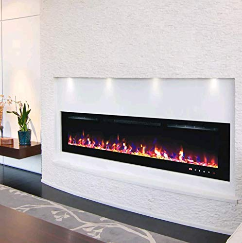 DIGITAL FLAMES Designer Electric Fire 60 Inch LED Premium Branded Black White Glass Insert or Wall Mounted Electric Fire 1300Kw Remote Control with New 10 Colour Flame Lights 2020