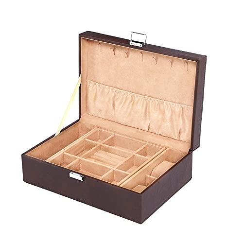 YIXINHUI Cajas de joyería Caja de Joyas de Cuero Estilo Europeo Mostrar Caja de Almacenamiento 2-Nivel Reloj de Joyas de Joyas de Boda