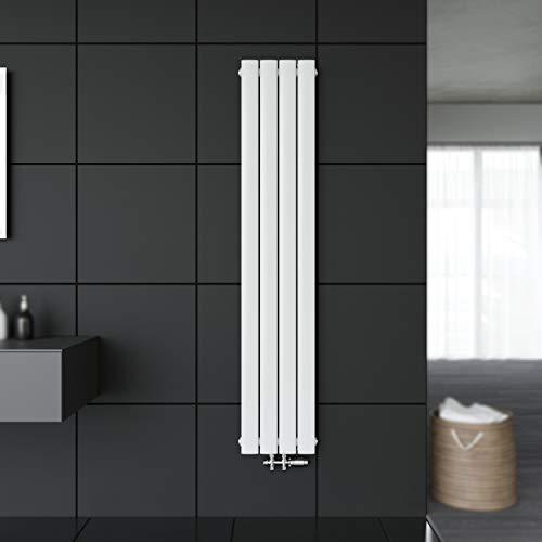 SONNI Paneelheizkörper Vertikal Flachheizkörper Weiß Doppellagig 1600x308mm Heizung Heizkörper mit Weiß Multiblock Hahnblock Heizkörper Thermostat
