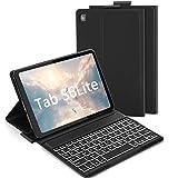 Jelly Comb Funda con Teclado Español Ñ para Samsung Galaxy Tab S6 Lite 10.4' 2020, 7 Colores Retroiluminado Teclado Bluetooth Desmontable para Samsung SM-P610/P615, Negro