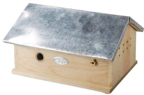 Esschert Design Hummelhaus, Hummelnistkasten, Metalldach, Deckel klappbar, mit zwei Kammern, ca. 29 cm x 17 cm x 15,5 cm