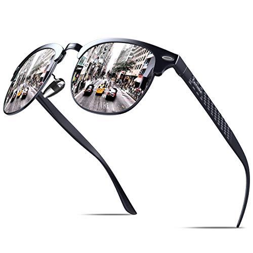 KITHDIA Polarisiert Sonnenbrille Herren Damen Aluminium Magnesium Metallrahmen S046 (Silber)