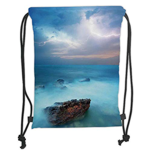 LULUZXOA Gym Bag Printed Drawstring Sack Backpacks Bags,Lake House Decor,Tropic Sea with Rocks and Storm Flash in The Air Tranquil But Dangerous Epic Scenery,Turquoise Soft Satinr