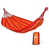 Hammock Sky Brazilian Double Hammock Two Person Bed for Backyard, Porch, Outdoor and Indoor Use - Soft Woven Cotton Fabric (Orange and Yellow Stripes)