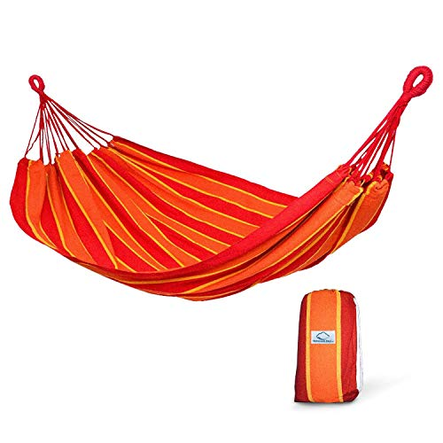 of garden patio hammocks dec 2021 theres one clear winner Hammock Sky Brazilian Double Hammock Two Person Bed for Backyard, Porch, Outdoor and Indoor Use - Soft Woven Cotton Fabric (Orange and Yellow Stripes)
