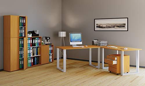 VCM Eckschreibtisch, Schreibtisch, Büromöbel, Computertisch, Winkeltisch, Tisch, Büro, Lona 130x130x50: Buche