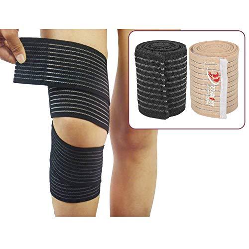 TMISHION knie elastisch verband, knie wraps, knie pads, knie elastische bandage bescherming mouw bandage gym knie ondersteuning riem, tillen gewichten, fitness en tillen, een maat past alle, 1 stuk(zwart)