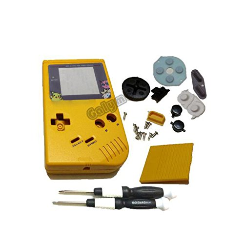 for Pikachu Cartoon Screen Lens Full Housing Shell for Nintendo Gameboy Classic for GB for DMG Console (Yellow)