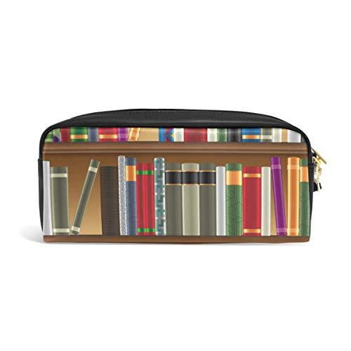 DEZIRO bibliotheek planken met oude boeken foto potlood doos cosmetische tas