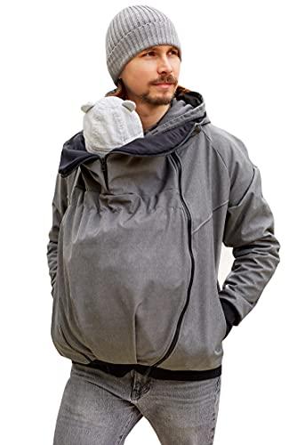 Be Mama - Maternity & Baby wear wasserdichte All-Weather 2in1 - Männer - Tragejacke & Softshelljacke in einem aus Softshell (Wassersäule: 10.000 mm), ZADAR Zip, grau Melange M