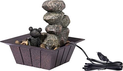 dobar Zimmerbrunnen in Steinoptik mit Deko-Steinen und Frosch, Wasserspiel mit Pumpe für innen, Grau, 20 x 20 x 21,5 cm